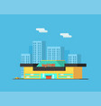 city landscape with skyscrapers and store building vector image vector image