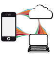 communication technology with mobile phone vector image vector image