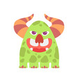 cute green monster with horns friendly funny vector image vector image