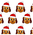 cute puppy in red christmas hat vector image vector image