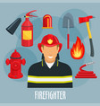 firefighter profession icon of fireman in uniform vector image vector image