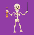 funny cartoon skeleton posing holding a violin and vector image