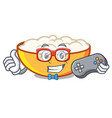 gamer cottage cheese mascot cartoon vector image