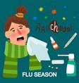 girl and medicines flue season vector image vector image