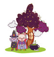 halloween animals cartoons vector image