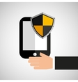 hand hold smartphone protection shield vector image vector image