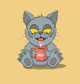 happy cat drinks a coffee vector image