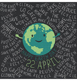 Happy Earth Earth smile Happy Earth Day 22 Apri vector image vector image
