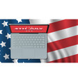 laptop on united states flag american independence vector image vector image