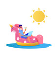 man freelancer inflatable unicorn laptop vector image vector image