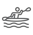 man kayaking line icon sport and rowing canoeing vector image