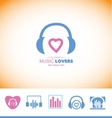 Music logo headphones love heart vector image