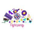 night party items dancing club disco ball and vector image