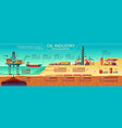 oil industry infographics offshore platform vector image vector image
