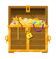 opened chest full of treasures vector image vector image