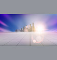 panoramic city skyline with buildings on horizon vector image