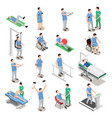 physiotherapy isometric icons vector image
