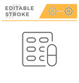 pill blister editable stroke line icon vector image vector image
