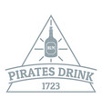 pirate drink logo simple gray style vector image vector image
