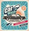 Retro car wash poster vector image vector image