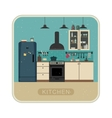 Retro kitchen interior vector image vector image