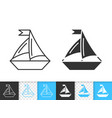 sailing ship simple black line boat icon vector image vector image