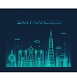 San Francisco City Trendy line art style vector image vector image