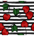 seamless background with cherry on black and white vector image vector image