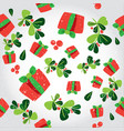 Seamless winter pattern with a red gift boxes