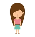 teenager with long hair and skirt vector image