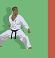 The emblem the man is engaged in karate vector image vector image