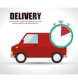 truck delivery time red van icon vector image