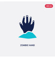 two color zombie hand icon from halloween concept vector image vector image