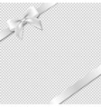 white bow and ribbon with background vector image vector image