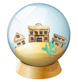 Wooden houses inside a dome vector image vector image