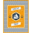 Yacht Trip Nautical retro poster in flat design vector image vector image
