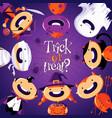 halloween card with cute cartoon children in vector image