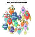 Educational game for children how many rockets vector image