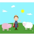 Cartoon scenery of nice spring day Young prince vector image