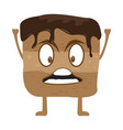 angry chocolate cookie cartoon character vector image