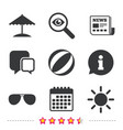 beach holidays icons umbrella and sunglasses vector image vector image