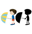 boy holding umbrella in color and silhouette vector image vector image