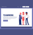 business people joining hands as a team vector image