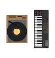 cartoon musical instrument set gramophone vector image vector image