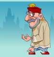 cartoon thoughtful man in a turkish hat vector image