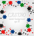 casino chips and playing cards background vector image