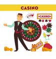 casino worker and game equipment set vector image vector image