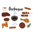 collection of bbq objects set of barbecue vector image vector image