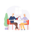 couple on meeting elderly people on restaurant vector image vector image