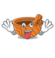 crazy wooden kitchen mortar isolated on mascot vector image vector image